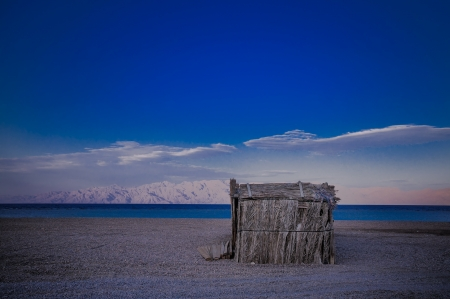 lonely tourist hut on the beach of Red Sea photo