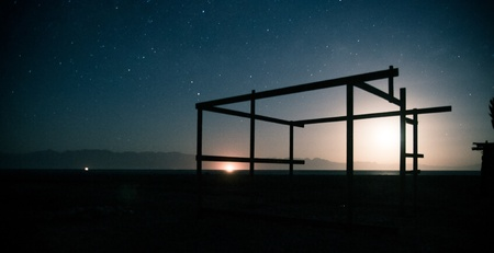 frame construction on the backgrounf of night sky
