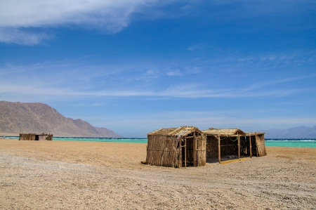 tourist shanty on the beach of Red Sea photo