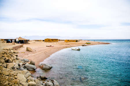 landscape of small coastal village in Red sea Editorial