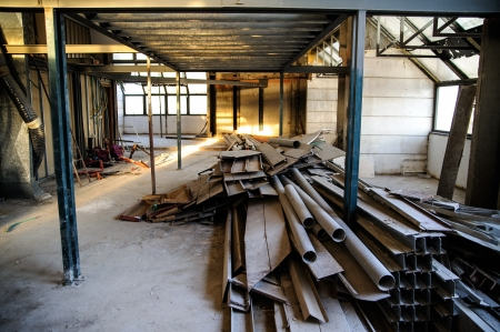 on site: Interior construction site in downtown of Jerusalem Stock Photo