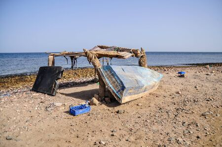 Old fisherman boat at the beach. Panorama Stock Photo - 14848672