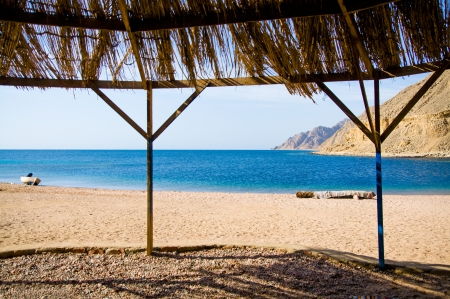 view from tourist shanty on the beach of Red Sea photo