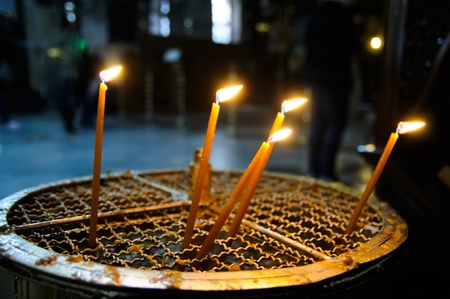 candles in the Church of the Nativity, Bethlehem