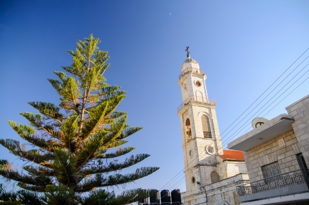salesian: Tower of Salesian Church in Bethlehem, Christmas time