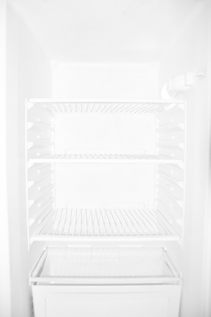 unavailability: Empty white student refrigerator without any food inside
