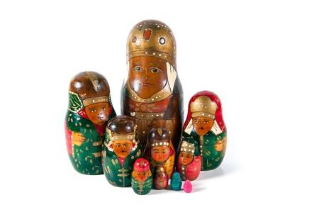 A family of an antique wooden matrioshka dolls Stock Photo