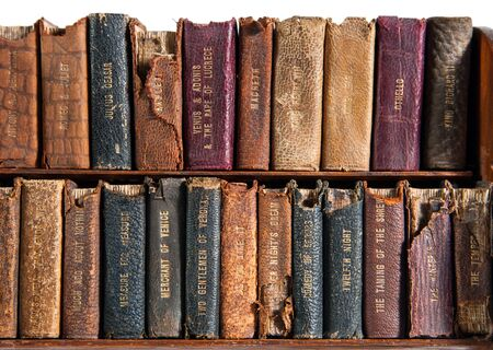 Row of Antique Books on the Shelf
