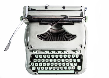 Typewriter from above isolated on white background