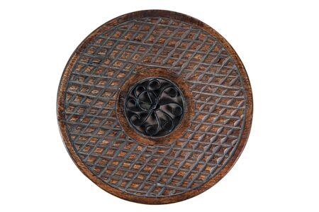 Vintage round wooden and wicker decorative case