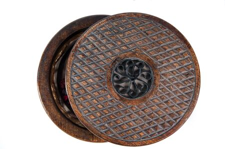 Cover of  the vintage round wooden decorative case Stock Photo