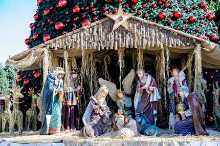 Christmas tree on the square of Bethlehem, Palestine Stock Photo