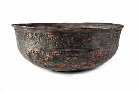 bronze bowl: Old vintage bronze, brass bowl isolated on white background Stock Photo