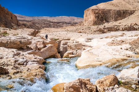 Hiker looks into the gorge in Wadi Hasa photo