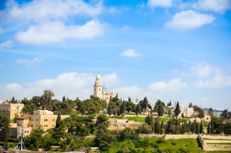 View on the Dormition Abbey and old city of Jerusalem