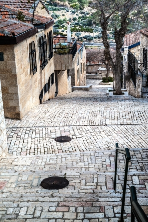 Stairs goes down on the silent Jerusalem lane