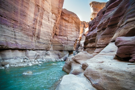 jordan: Landscape of flowing water of creek in Wadi Hasa, Jordan