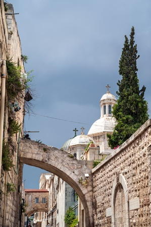 Narrow street in the OLd City of Jerusalem photo