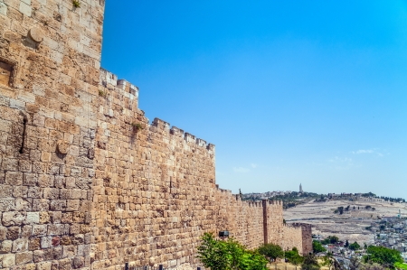 Fragment of the wall surrounding the Old City of Jerusalem