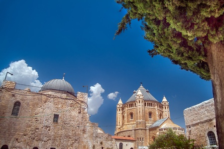 View on the tower of Dormition Abbey, Jerusalem photo