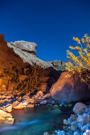 Night scenic desert landscape, Wadi Hasa creek photo