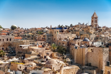 surrounding: View on the landmarks of Jerusalem Old City,