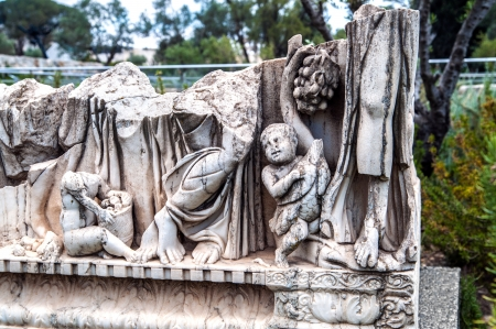 escultura romana: Fragmento de la escultura romana antigua en Jerusal�n Foto de archivo