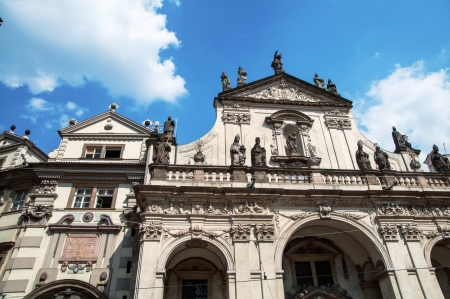 ornated: Fragment of ornated architecture in Prague, blue sky background