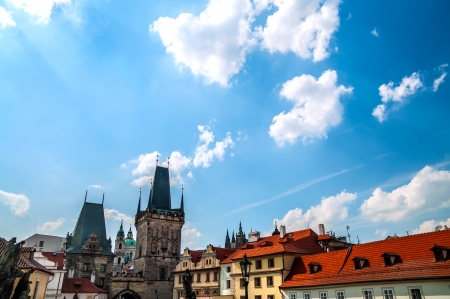 View on Prague architecture from Charles Bridge, Karluv Most