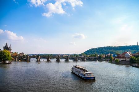 Landscape of Prague, view on the Vltava river and Charles Bridge Stock Photo