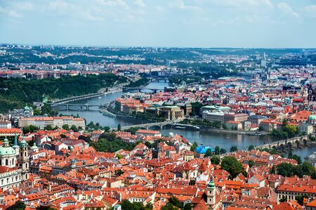 View on Prague cityscape and Vltava river Stock Photo