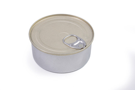 tinned goods: Closed bank of canned cheese on white background