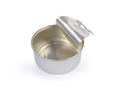 tinned goods: Opened bank of canned food isolated on white