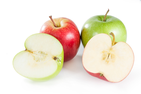 unpeeled: Group of red and green apples on white