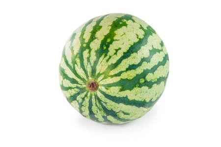 Whole single green watermelon on white background Stock Photo