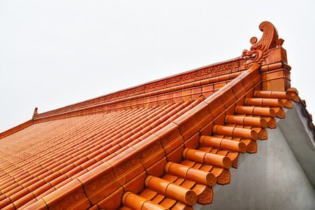 tile: Classical Chinese tile on the roof of buddhist temple Stock Photo