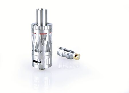 atomizer: Metallic atomizer and coil isolated on white