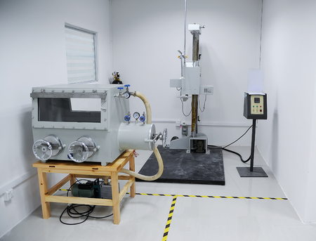 Empty testing room for batteries quality control