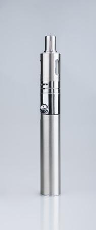 atomiser: Single e-cigarette vaping device on gray background