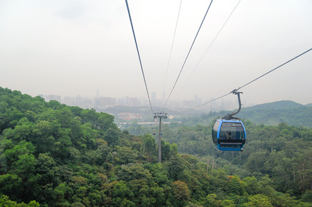 City landscape view from cable car in Bayun mountain, travel in Guangzhou, China