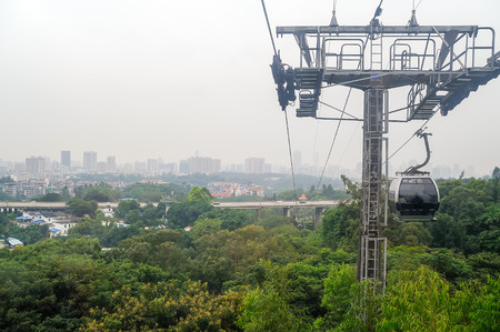 Cityscape view from cable car in Bayun mountain, travel in Guangzhou, China