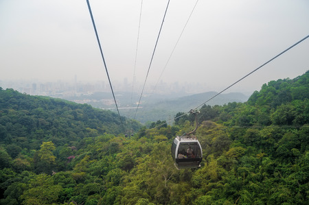 Cityscape view from cable car in Bayun mountain Guangzhou, China Stock Photo
