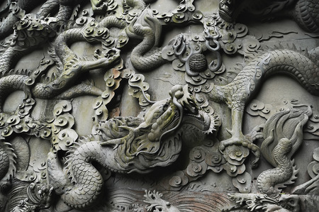 Element of decor in traditional Chinese style on the wall of temple