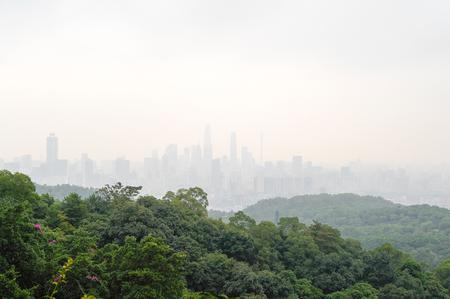 Guangzhou cityscape from the Bayun mountain viewpoint