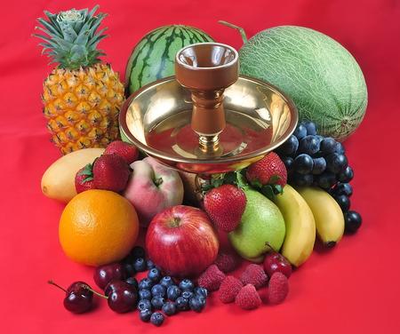 Natural organic tropical fruits mix for hookah, still life