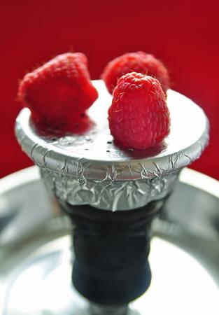 Natural organic raspberries forest fruits for shisha Stock Photo