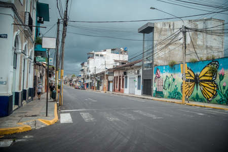 A landscape of a city street in Iquitos