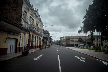 A view on empty city street in Iquitos