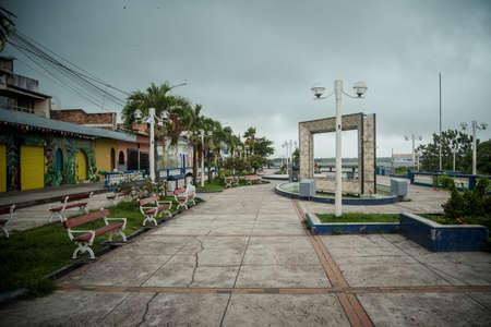 An empty promenade in Iquitos town, Peru