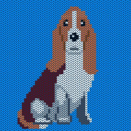 knitted fabrics: Knitted dog pattern Illustration